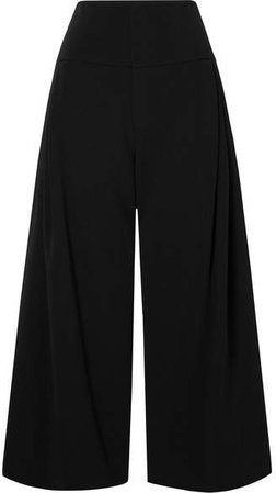 Lenark Pleated Crepe Culottes - Black