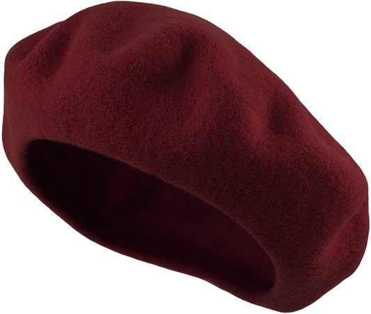 Deewang Women's Men's Solid Color Plain Wool French Beret One Size (Burgundy) at Amazon Women's Clothing store