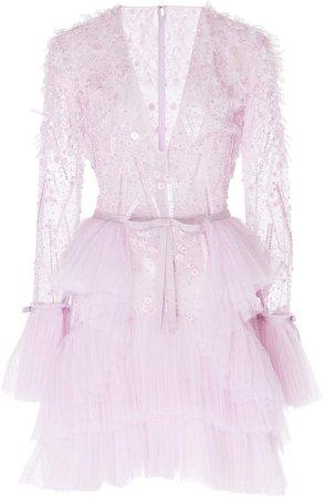 Mantilla Embroidered Tulle Mini Dress