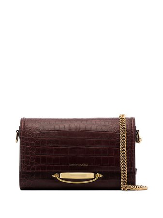 Alexander McQueen, Story croc-effect Leather Shoulder Bag