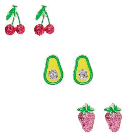 Glitter Fruit Stud Earrings - 3 Pack   Claire's US
