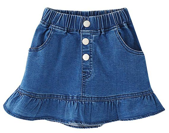Amazon.com: Ameyda Kids Kids Skirt, Elastic High Waist Ruffle Denim Scooter Skirt for Toddler & Little Girls, Blue, Tag Size 140 = US 7-8Y: Clothing