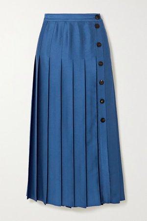 Victoria, Victoria Beckham | Pleated satin midi skirt | NET-A-PORTER.COM