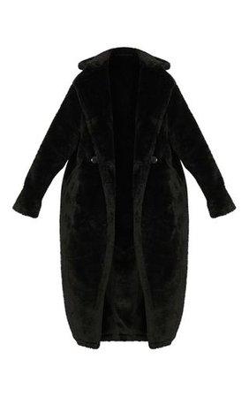 Faux Fur Black Coat | Coats & Jackets | PrettyLittleThing