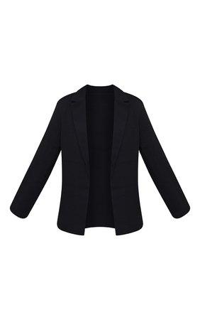 Black Woven Tailored Longline Blazer | PrettyLittleThing USA