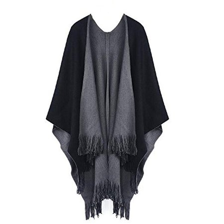 Women Shawl Scarf, Rcool Women Winter Knitted Poncho Capes Wraps Shawl Cardigans Sweater Coat Scarves Stoles (Black): Amazon.co.uk: Clothing