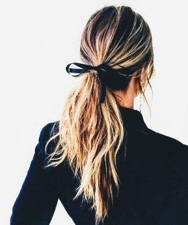 black hair ribbon blonde ponytail - Google Search