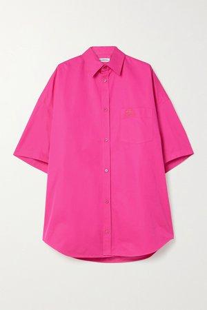 Bright pink Oversized embroidered cotton-poplin shirt   Balenciaga   NET-A-PORTER