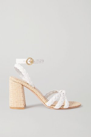 85 Woven Leather And Raffia Sandals - White