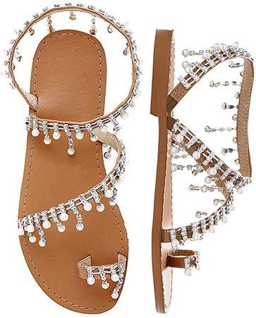 Shoe'N Tale Women's Bohemia Bling Rhinestone Pearl Flat Gladiator Sandals Toe Ring Dress Shoes