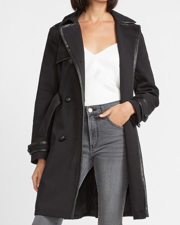 Vegan Leather Trimmed Belted Trench Coat