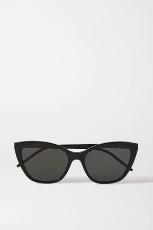 Black Cat-eye acetate and gold-tone sunglasses | SAINT LAURENT | NET-A-PORTER