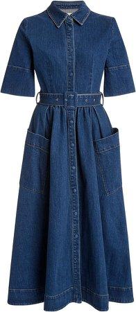 Belted Denim Maxi Dress