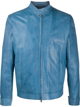 Barba Fitted Leather Jacket BIKER Blue | Farfetch