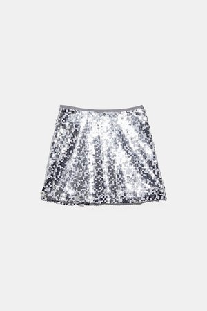 SEQUIN MINI SKIRT - View All-SKIRTS-WOMAN | ZARA United States silver
