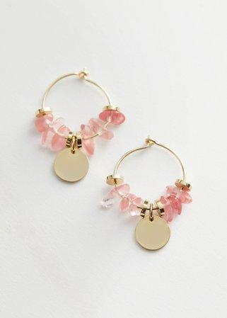 Jagged Stone Pendant Hoop Earrings - Light Pink - Hoops - & Other Stories