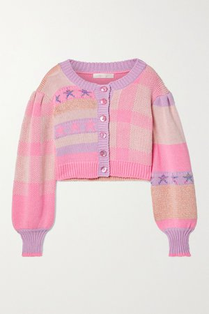Baby pink Bedford cropped cotton-blend jacquard cardigan | LoveShackFancy | NET-A-PORTER