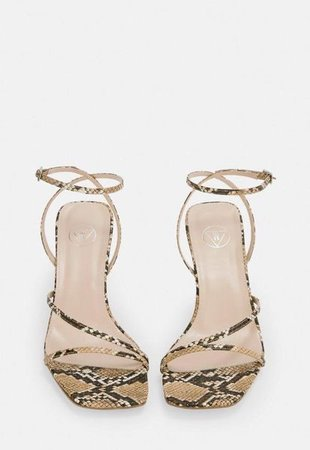 Nude Snake Print Strappy Low Heeled Sandals   Missguided