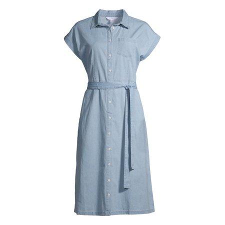 Time and Tru - Time and Tru Women's Denim Belted Midi Shirt Dress - Walmart.com - Walmart.com