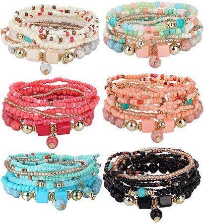Udalyn 6 Sets Bohemian Stackable Bead Bracelets for Women Men Multilayered Bracelet Set Pendant Charm Stretch Bangles: Clothing