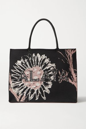 Black Printed canvas tote   Alaïa   NET-A-PORTER