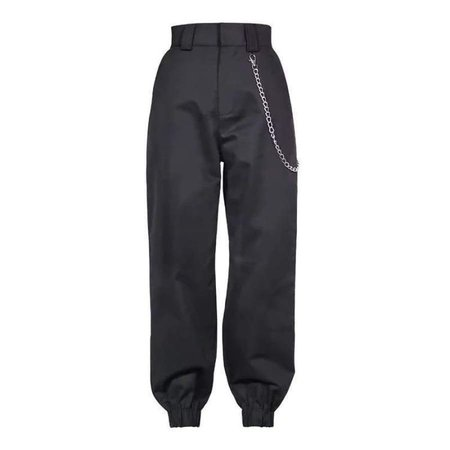 Wholesale Clothing Supplier Sexy Military High Waisted Cargo Pants with Chain Color: Black