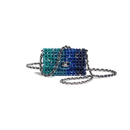 Crystal & Silver-Tone Metal Navy Blue Mini Flap Bag   CHANEL