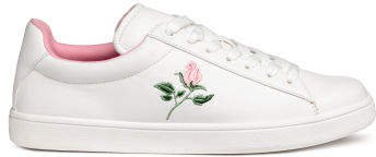 Trainers with embroidery - White