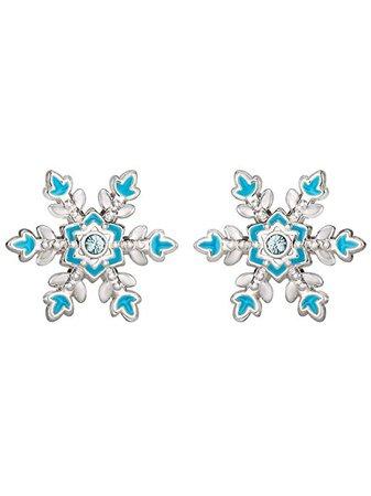 Amazon.com: Disney Frozen Fine Silver Plated Aqua Crystal Snowflake Stud Earrings: Jewelry