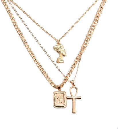 HUJUON 3-Layer Nefertiti Pharaoh Necklace. Punk Gold Egyptian Queen Cross Pendant Necklace, Hip Hop African Women Men Girl's Jewelry (Gold)   Amazon.com