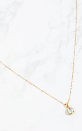 Gold Diamante Pendant Necklace   PrettyLittleThing