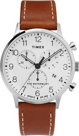 Waterbury Chronograph Leather Strap Watch, 40mm