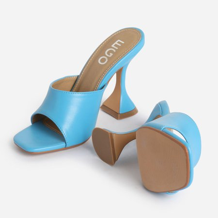 Jordi Peep Square Toe Heel Mule In Blue Faux Leather   EGO