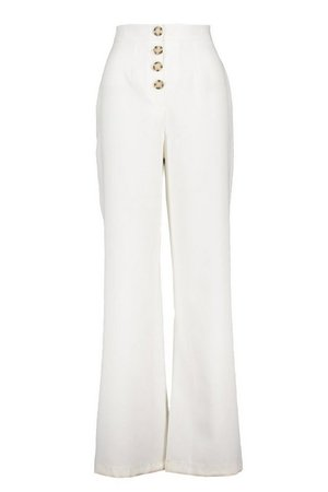 Button Front Pocket Side Woven Wide Leg Trouser | boohoo white