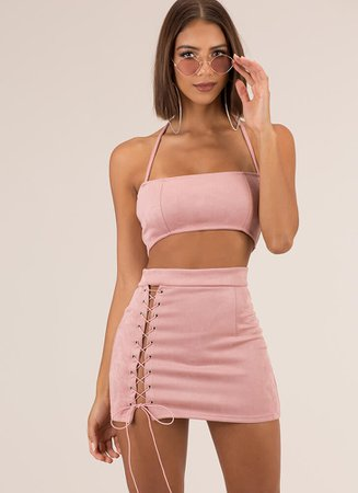 First String Lace-Up Top And Skirt Set MUSHROOM PINK - GoJane.com