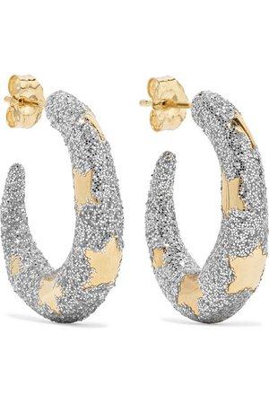 Alison Lou | Petite Étoile 14-karat gold and glittered enamel hoop earrings | NET-A-PORTER.COM