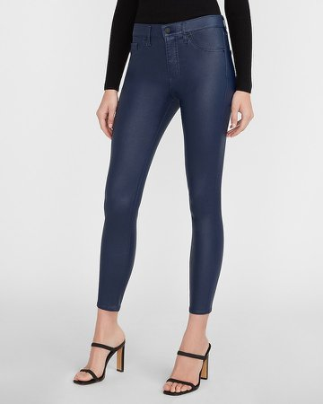 Mid Rise Coated Blue Skinny Jeans