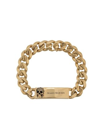 Gold Alexander McQueen Chain Skull Bracelet | Farfetch.com