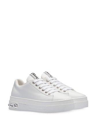 Miu Miu Crystal Platform Sneakers 5E643CF0503KEX White | Farfetch