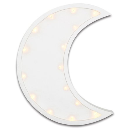 The Peanut Shell Infant-Toddler Unisex Nursery Wall Decoration - White Crescent Moon Design with Tiny Theather Lights - Marquee Wall Light - Walmart.com