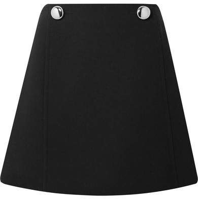 Embellished Wool Mini Skirt - Black