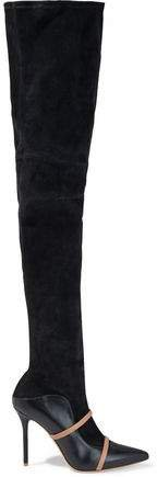 Madison 100 Stretch-suede And Two-tone Leather Thigh Boots