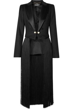 Adam Lippes | Convertible cropped fringed satin-trimmed twill blazer | NET-A-PORTER.COM