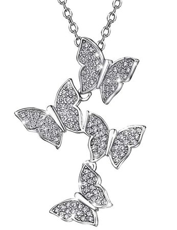 Amazon.com: Mints Sterling Silver Pendant Necklace Butterfly Cubic Zirconia Necklaces for Women 16-18 inch: Jewelry