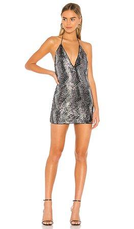 Michael Costello x REVOLVE Lora Mini Dress in Metallic Silver | REVOLVE