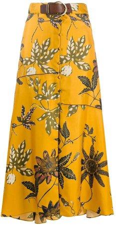 Dorothee belted waist floral print silk skirt