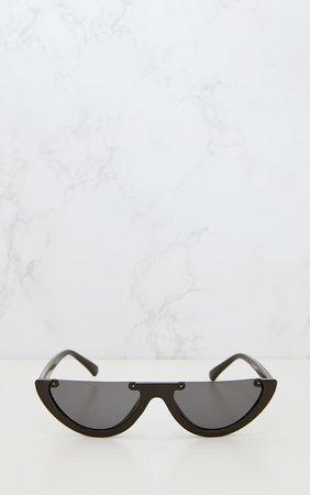 Black Rounded Half Frame Retro Sunglasses | PrettyLittleThing