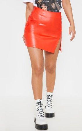 Petite Orange Pu Side Split Mini Skirt | PrettyLittleThing USA