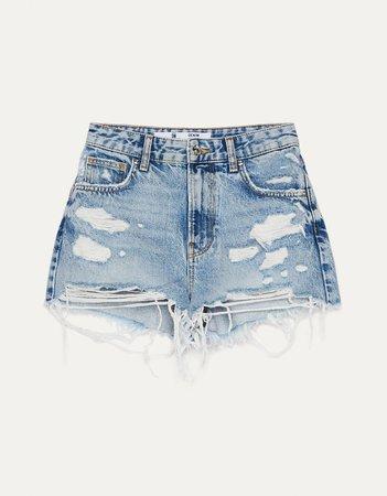 Denim shorts with rips - New - Bershka United States