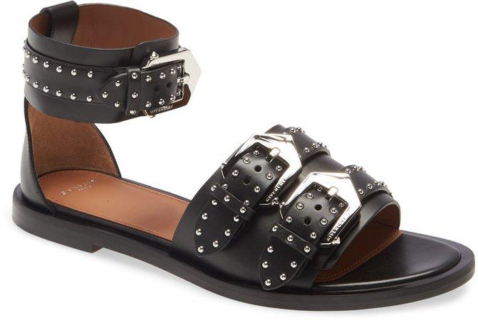 Studded Buckle Ankle Strap Sandal